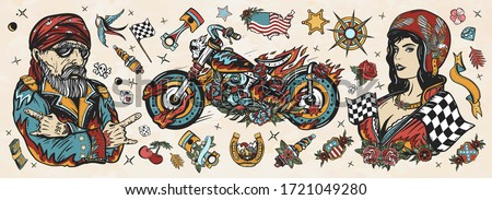 Bikers. Old school tattoo collection. Bearded biker man, burning motorcycle, rider sport woman. Pin up girl, spark plug, moto bike elements. Lifestyle of racers. Traditional tattooing style