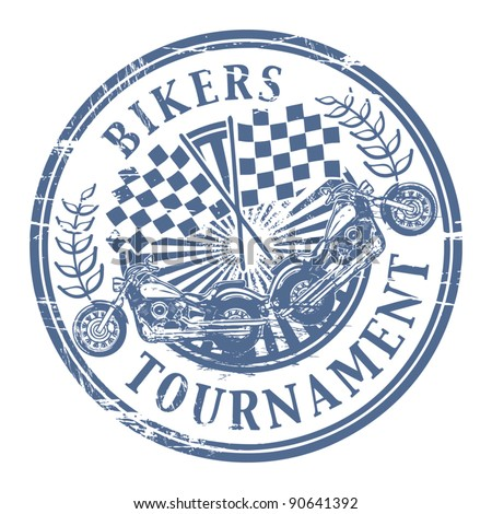 Bikers Tournament stamp, vector illustration