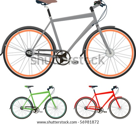 "Bikes! - Bicycles isolated on white (grey, green, red, orange). Vector illustration. Suitable for internet, advertising, editorial graphics, publications. See others on ""Objects"" set."