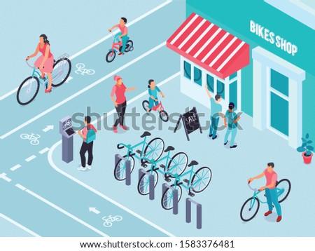bikes shop isometric background