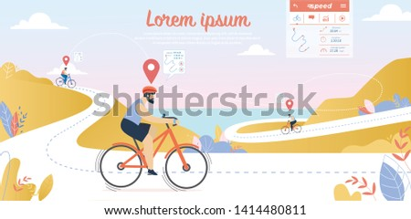 Biking Competition, Young Sportsmen Driving Bicycles on Mountain Streamer Route with Seascape View Background. Summertime Sports Activity, Healthy Lifestyle, Cartoon Flat Vector Illustration, Banner