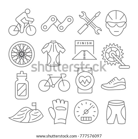 Biking Line Icons on white background