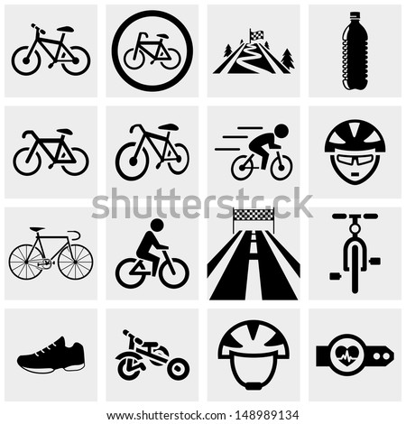 biking vector icons set on gray