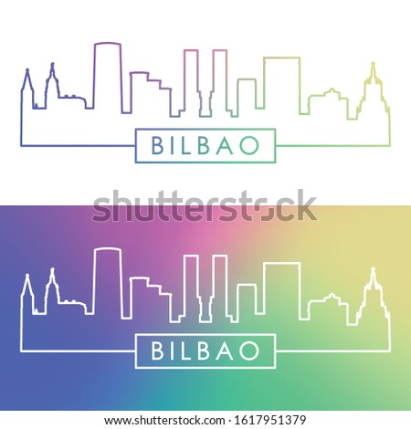 Bilbao skyline. Colorful linear style. Editable vector file.