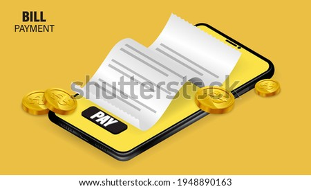 Bill of expenses is on mobile phone.Pay bills with mobile phone.Online shopping spending.Online shopping via smartphone.Bill payment flat isometric vector concept of mobile payment, shopping, banking.