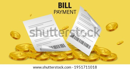 Bill of expenses on the pile of money.Cashback from product payment.Online shopping spending.Bill payment flat isometric vector concept of mobile payment, shopping, banking.