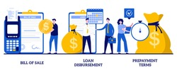Bill of sale, loan disbursement, prepayment terms concept with tiny people. Financial agreement signing abstract vector illustration set. Legal document, business papers metaphor.