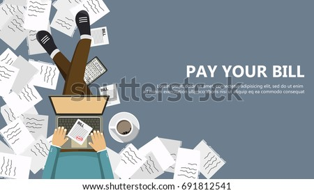 Bill payment design in flat style. Paying bills concept. Man sitting on the floor with lap top and paper bill in his lap. Flat vector illustration