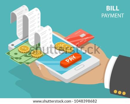 bill payment flat isometric