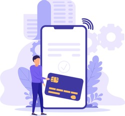 Bill payment with smart phone, credit card. Concept of mobile shopping, banking, virtual wallet, financial transaction, accounting verification. Online receipt of billing payment or digital invoice.