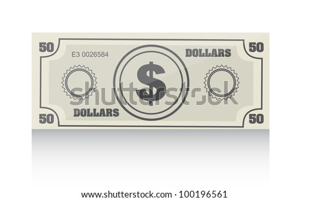 bill with shadow over white background. vector illustration