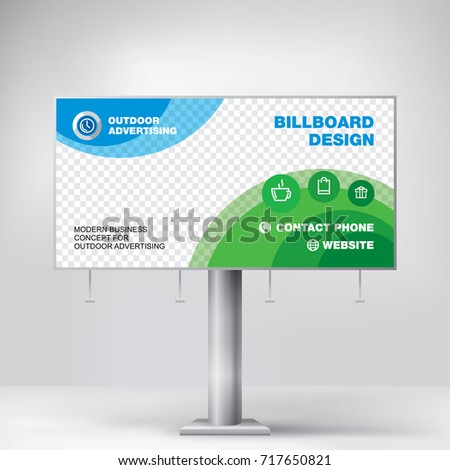 Billboard design, graphic template for placement advertising, ready layout banner for photos and text, blue-green background vector