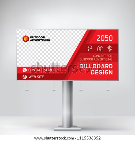 Billboard design, outdoor advertising template, layout banner for photo and text placement, creative concept.