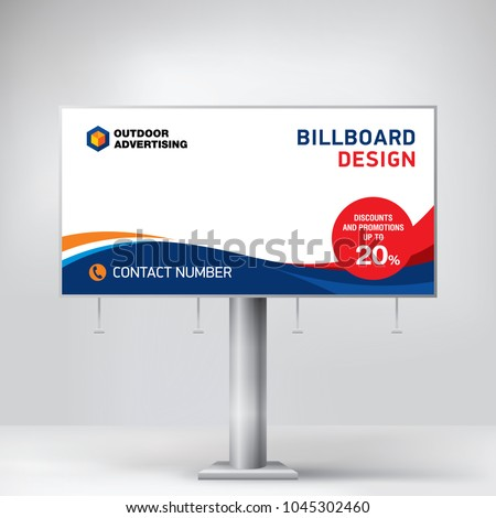 Billboard design, template for outdoor advertising, posting photos and text. Modern business concept. Creative background in the form of a wave in EPS 10 format
