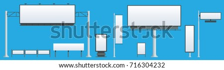 Billboard flat Set of different perspectives advertising construction for outdoor advertising big billboard on blue background isolated vector illustration - Shutterstock ID 716304232
