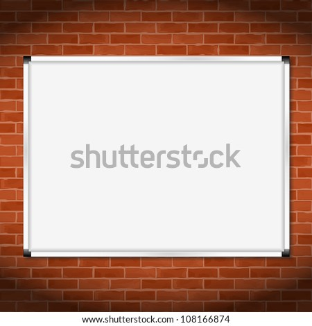 Billboard on brick wall, vector eps10 illustration