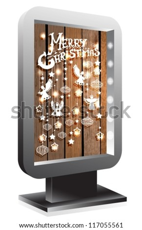 Billboard with Christmas decorations over wood, vector
