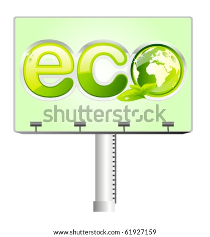 Billboard with green eco sign and earth