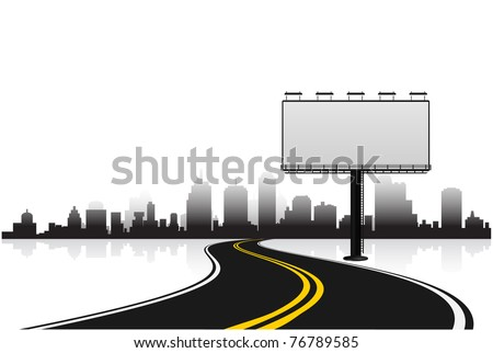 billboard with road and city background