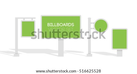 Billboards, advertise billboards, city light billboard. Flat 3d vector illustration for infographic.