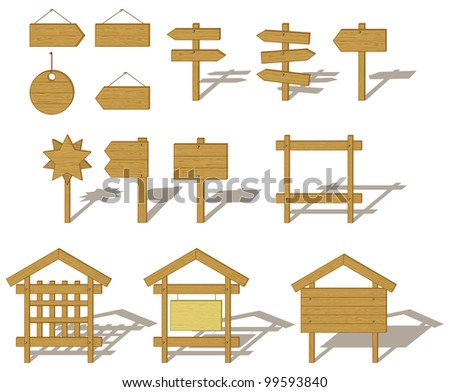 Billboards and signs wooden various, set. Vector