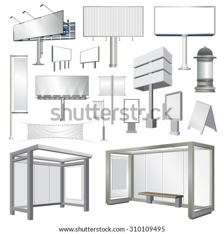 billboards, banners, bus stops and outdoor advertisement templates collection - Shutterstock ID 310109495