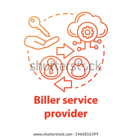 Biller service provider concept icon. Billing idea thin line illustration. Invoice providing. E-payment for services. Services provision. Vector isolated outline drawing. Editable stroke