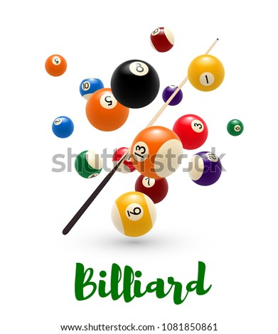 billiard ball and cue poster