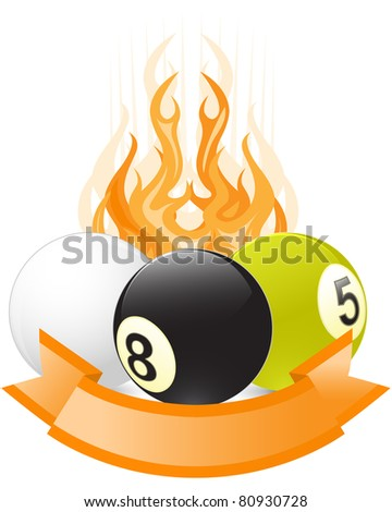 Billiard ball emblem  in flame with ribbon