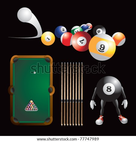 Billiard balls, billiard table and sticks, and cartoon billiard man