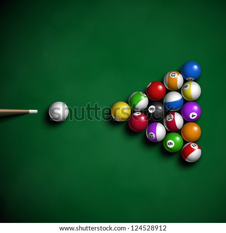 billiard balls on table eps 10