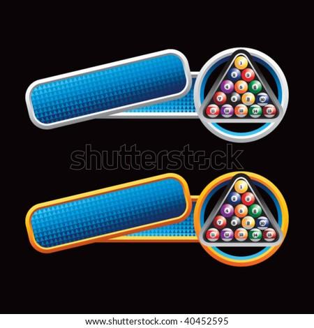 billiard balls on tilted blue banners