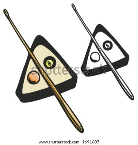 Billiard equipment including balls, a stick and a rack. Vector illustration