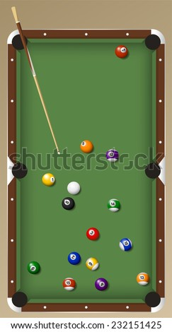 billiard game set vector cartoon illustration