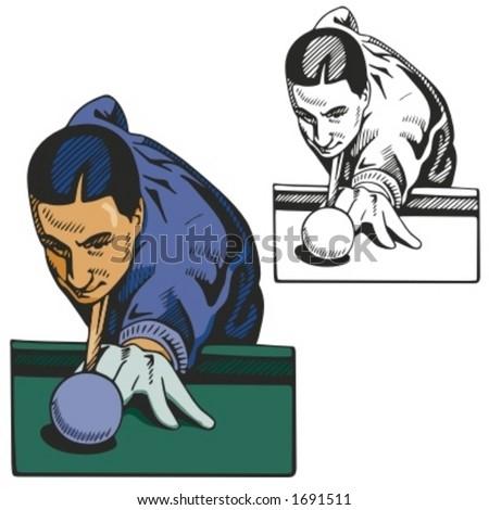 Billiard player. Vector illustration