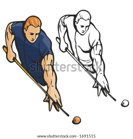 Billiard player. Vector illustration