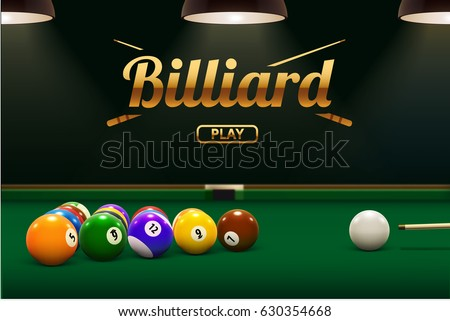 billiard table front view balls