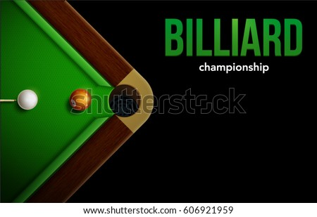 billiard table top view balls
