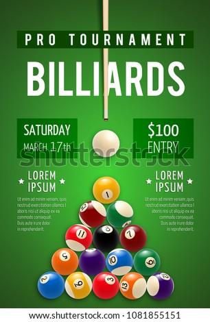 billiard tournament poster for