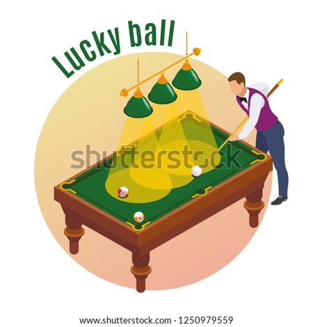 Billiards isometric composition with male player character aiming his stick to strike lucky ball into pocket vector illustration
