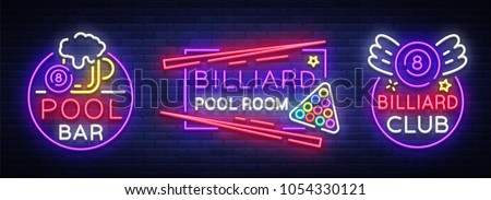 billiards set of neon signs