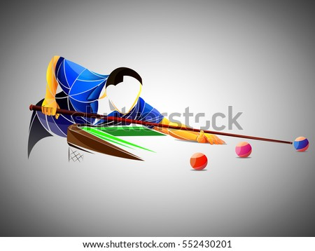billiards styled athlete  vector