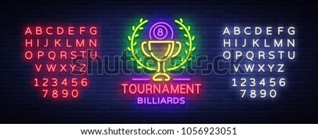 billiards tournament logo neon