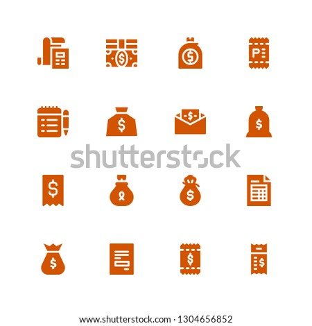 billing icon set. Collection of 16 filled billing icons included Bill, Receipt, Money bag, Invoice, Bills