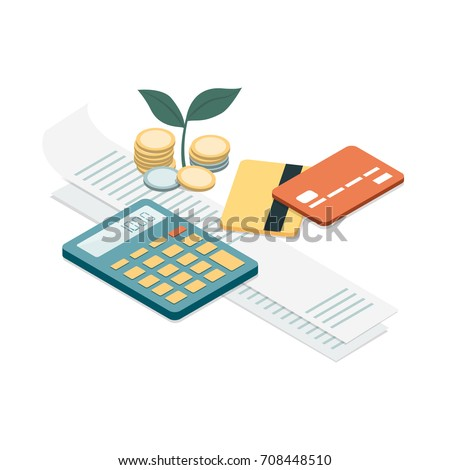 Bills, credit cards and calculator: personal home finance, taxes and payments concept - Shutterstock ID 708448510