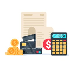 Bills, credit cards and calculator: personal home finance, taxes and payments concept. Vector illustration. Business financial concept