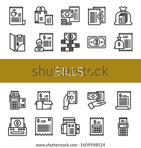 bills icon set. Collection of Bill, Dollar bills icons