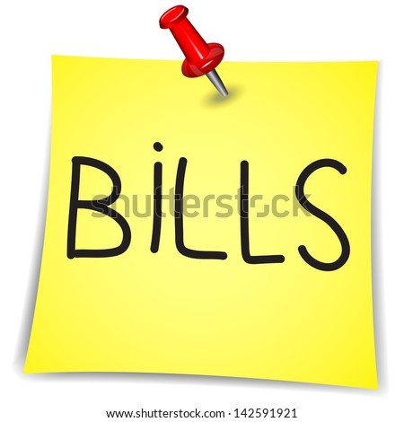 Bills  Word on a Note Paper with pin on white background