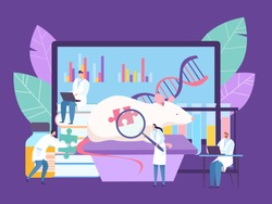 Bilogical genetic engineering research at laboratory, vector illustration. Doctor conduct experiment with mouse, study dna genes. Scientist near large animal and screen with work analysis.