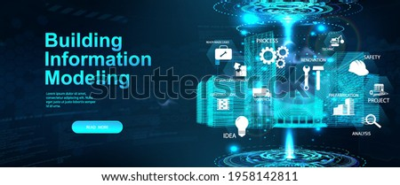 BIM - Building Information Modeling concept banner. Hologram 3D model buildings with icons and aspects BIM. Architecture building industry - modeling, construction and information. Vector banner